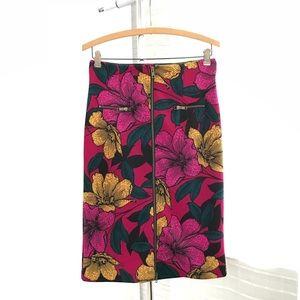 Worthington High Waist Floral Print Pencil Skirt
